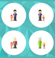 flat icon family set of grandma son father vector image vector image