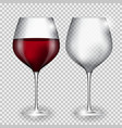 Full and Empty Glass of Wine on Transparent vector image vector image