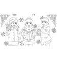 funny kids singing for christmas coloring book vector image vector image