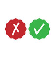 green check mark and red cross - isolated vector image vector image