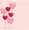 hearts balloon with golden confetti vector image