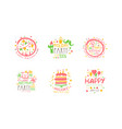 holiday party for kids logo templates design set vector image