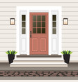 house door front with doorstep and steps porch vector image