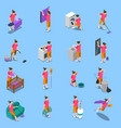 housewife isometric icons set vector image vector image