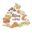 italian cuisine sketch doodle food menu design vector image vector image