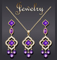 jewelry set earrings and pendant with precious vector image