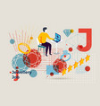 letter j jewellery and man looking online vector image