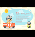 Little boy racer and friend background vector image vector image