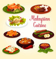 malaysian cuisine icon with exotic food ingredient vector image vector image