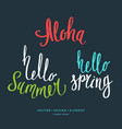 modern hand drawn lettering word aloha hello vector image vector image