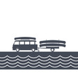 monochrome camping bus with canoe and trailer vector image vector image