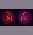 neon shopping bag in red and pink color vector image