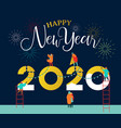 new year 2020 card happy people friends together vector image vector image