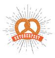 oktoberfest label with a pretzel icon vector image vector image
