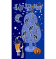 original doodle artistic halloween card vector image