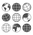planet map globe icons vector image