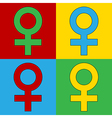 Pop art gender female icons vector image vector image