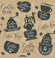seamless pattern on theme of coffee house vector image vector image