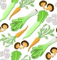 Seamless pattern with japanese vegetables and mush vector image vector image