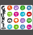 server network icons set in grunge style vector image vector image
