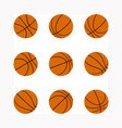 set basketball balls with different rotation vector image