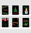 set christmas and happy new year greeting cards vector image vector image