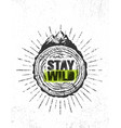 stay wild outdoor adventure mountain hike vector image vector image