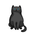 stylized cartoon black cat vector image