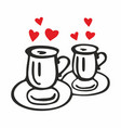 two coffee cups with hearts vector image vector image