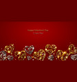 valentine card with shiny hearts vector image vector image