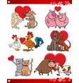 valentine cartoon love set with animals vector image vector image