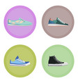 various modern sneakers flat icons set vector image vector image