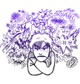 Very angry man doodle sketch vector image vector image