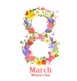 vintage greeting card with spring flowers for vector image