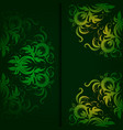 Vintage pattern on a dark green background vector image vector image