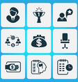 work icons set with job performance long-term vector image vector image
