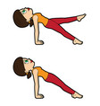 yoga asana set upward plank vector image vector image