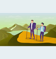 young woman and man travelling in mountains vector image