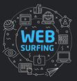 black line flat circle web surfing vector image