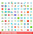100 settings icons set cartoon style vector image vector image