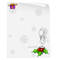 A christmas card template with a young girl above vector image