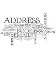 address book text word cloud concept vector image vector image
