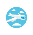airplane transport in frame circular vector image vector image
