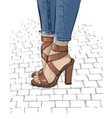 beautiful women legs in fashionable high heel vector image vector image