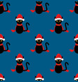 black cat santa hat seamless on indigo blue vector image vector image