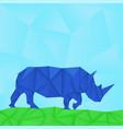 blue rhinoceros paper polygonal vector image vector image