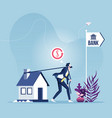 businessman dragging house to bank vector image