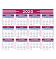 calendar grid 2020 new year organizer and wall vector image