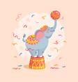 cartoon circus elephant with a ball vector image