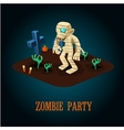 Cartoon Mummy on Night Halloween Cemetery vector image vector image